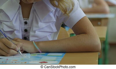 Schoolgirl writing at lesson in primary school