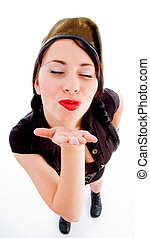 young model blowing flying kiss on an isolated white...