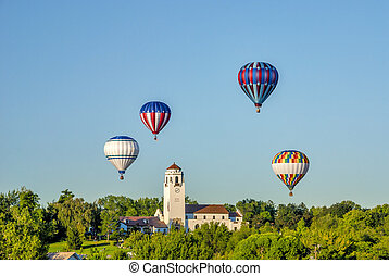 Boise TRain Depot with hot air balloons - Unique view of hot...