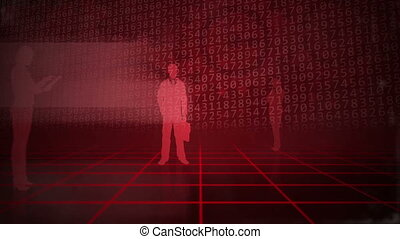 Red business background - Computer animation of a grid full...