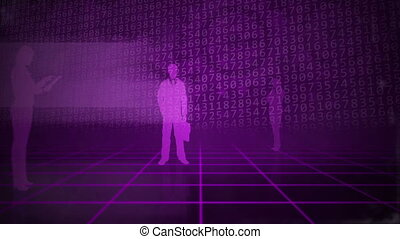 Purple business background - Computer animation of a grid...