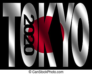 Tokyo 2020 text with rippled Japanese flag illustration
