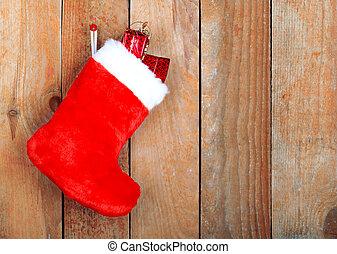 vermelho, Natal, botina, Presentes, fundo, madeira, parede