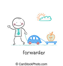 forwarder drives a car with a trailer which is an apple