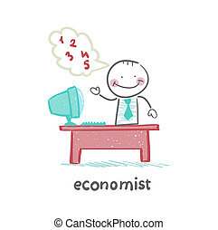 economist sitting at work - economist sitting at work