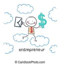 entrepreneur goes through the sky with a briefcase and money