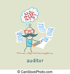 Auditor writes on a piece of paper and think about the...