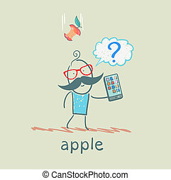 man holding a mobile phone and an apple falls on his head