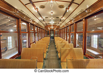 Old Historic Restored Tram Public Section - Old Historic...
