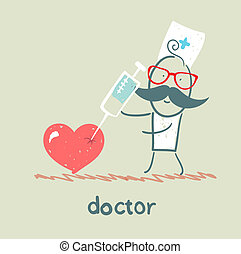 Doctor with a syringe pricks the heart