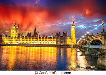 Stunning sunset view of London skyline. The Houses of Parliament