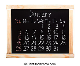 Calendar 2014. January. Written on a blackboard