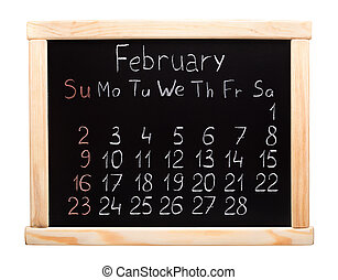 Calendar 2014 February Written on a blackboard