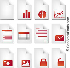 Document types - Document file types icon set clipart...