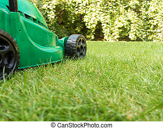 Green lawnmower on grass - Green electric lawnmower with...