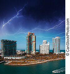 Miami, Florida. Storm in the sky above the city