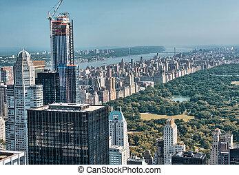 建物, 航空写真, 公園, 包囲, すばらしい, 中央である, 光景