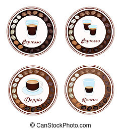 Four Type of Hot Coffee in Retro Round Label - An...
