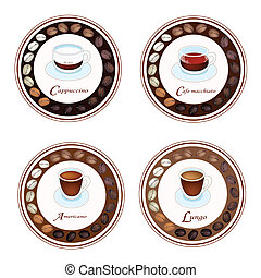 Four Kind of Coffee Drink in Retro Round Label - An...