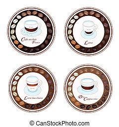 Four Kind of Coffee Beverage in Retro Round Label - An...