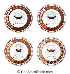 Four Type of Coffee Beverage in Retro Round Label - An...