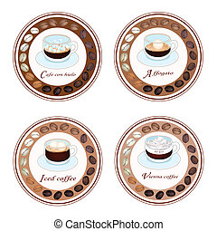 Four Type of Coffee Drink in Retro Round Label - An...