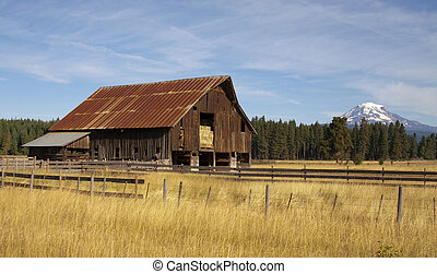 Ranch Barn Countryside Mount Adams Mountain Farmland...