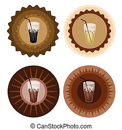 Four Type of Iced Coffee on Retro Round Label - Iced Coffee,...