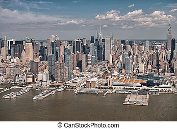 Helicopter view of Midtown West and Hudson river, Manhattan...