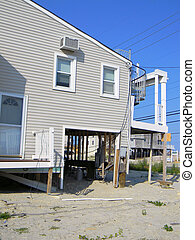 Hurricane Sandy House Damage - The lower level of a beach...