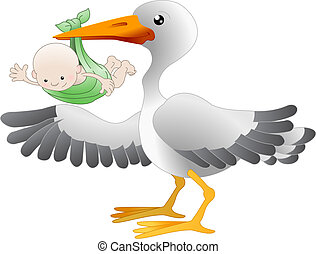 Stork with a newborn baby - Illustration of a standing stork...