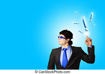 Businessman and exclamation mark - Image of young...