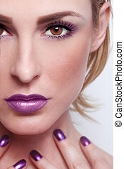 Fashion Beauty Make Up With Matching Lips and Nails - Sexy...