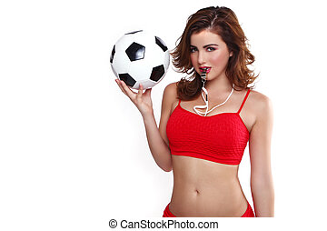 Beautiful Holding a Soccer Ball on White Background - Sexy...