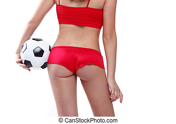 Beautiful Holding a Soccer Ball on White Backgound - Sexy...