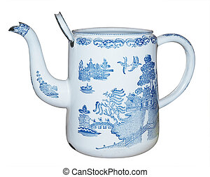Antique Enamel Jug isolated with clipping path
