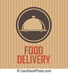 Food delivery brown label on special brown background