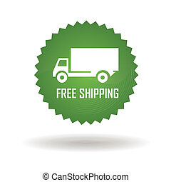 Free shipping - free shipping green label on white...