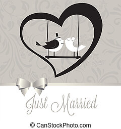 Just married birds - just married birds on special gray...