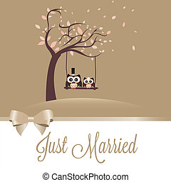 Just married - just married owls on special brown background