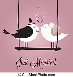 Just Married - just married birds on special pink background
