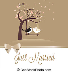 Just Married - two birds in love just married on special...