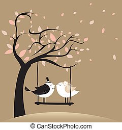 Just Married - two birds in love just married on brown...