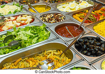 Colourful buffet - A colourful salad buffet in a restaurant