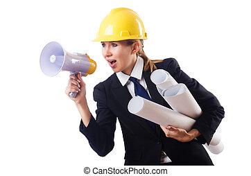 femininas, construção, trabalhador,...