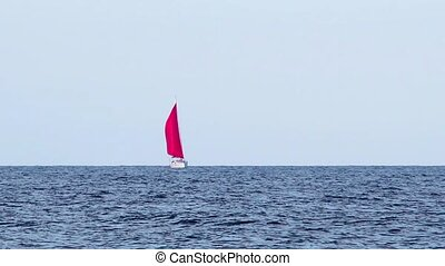 Yacht with a red sail on the sea