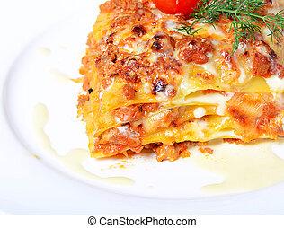 a, italiano, lasanha, prato