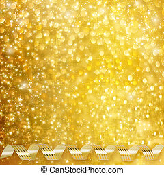 Gold paper horizontal ribbon on abstract snowy background...