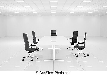 White office room with table