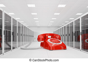 Red telephone in datacentre
